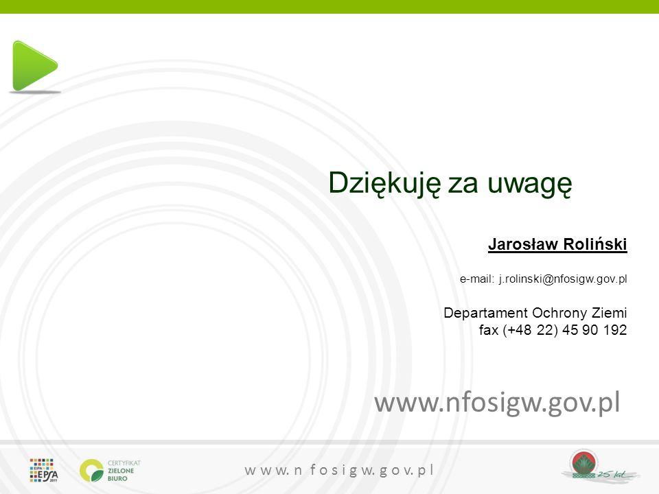 www.nfosigw.gov.pl Dziękuję za uwagę Jarosław Roliński