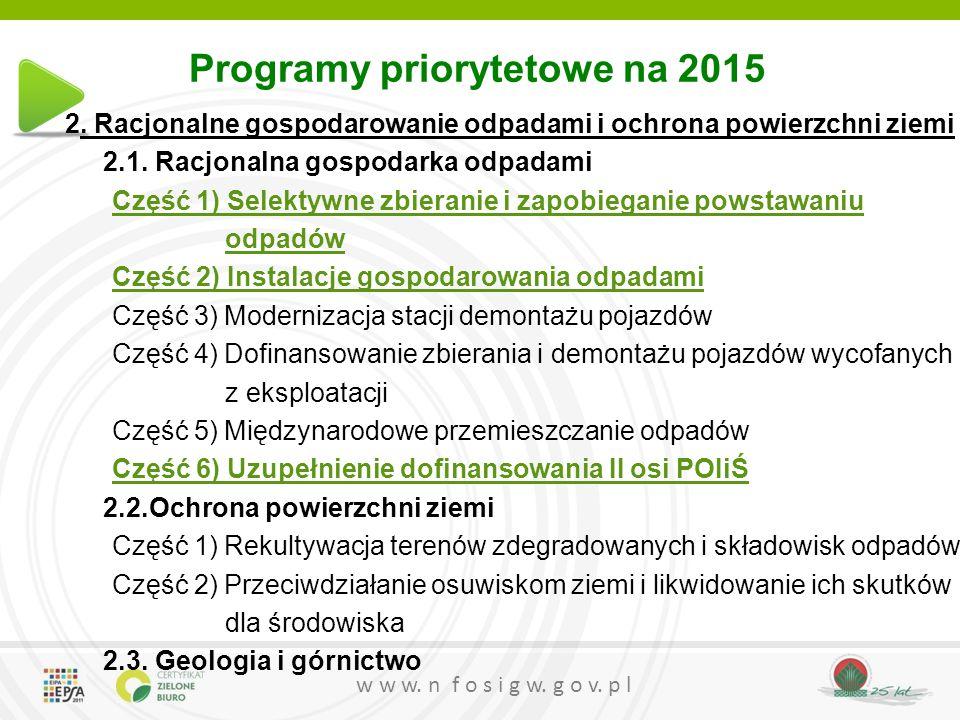 Programy priorytetowe na 2015