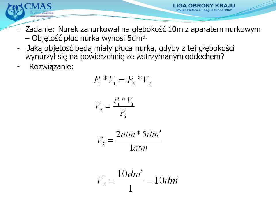 - Zadanie: Nurek zanurkował na głębokość 10m z aparatem nurkowym – Objętość płuc nurka wynosi 5dm3.