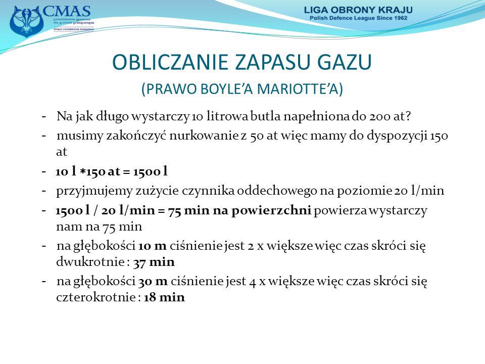 OBLICZANIE ZAPASU GAZU (PRAWO BOYLE'A MARIOTTE'A)
