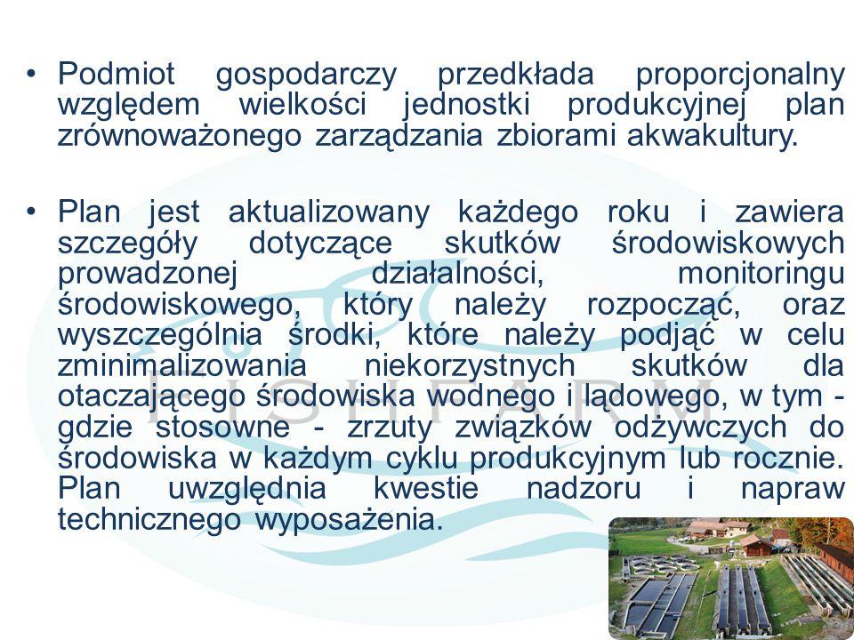 Podmiot gospodarczy przedkłada proporcjonalny względem wielkości jednostki produkcyjnej plan zrównoważonego zarządzania zbiorami akwakultury.