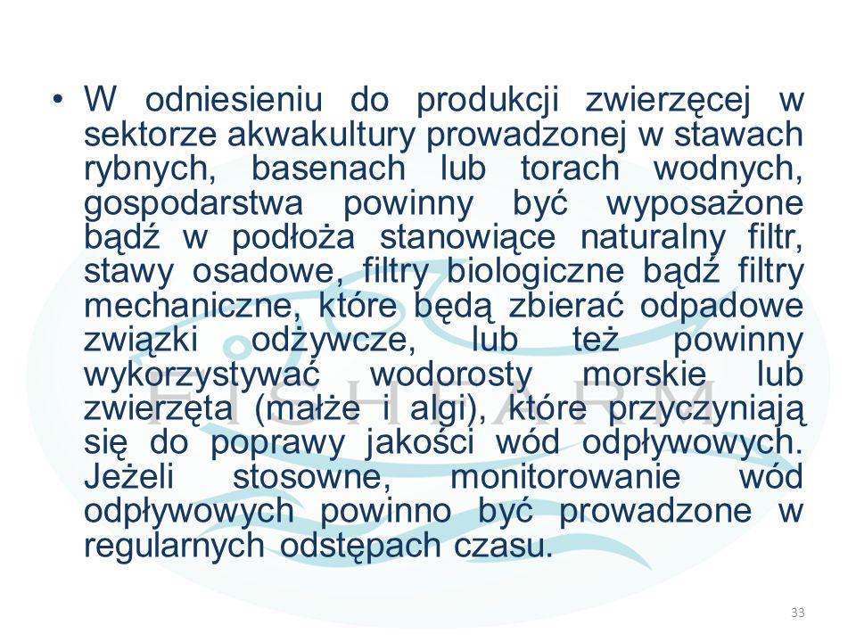 W odniesieniu do produkcji zwierzęcej w sektorze akwakultury prowadzonej w stawach rybnych, basenach lub torach wodnych, gospodarstwa powinny być wyposażone bądź w podłoża stanowiące naturalny filtr, stawy osadowe, filtry biologiczne bądź filtry mechaniczne, które będą zbierać odpadowe związki odżywcze, lub też powinny wykorzystywać wodorosty morskie lub zwierzęta (małże i algi), które przyczyniają się do poprawy jakości wód odpływowych.