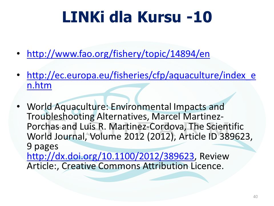 LINKi dla Kursu -10 http://www.fao.org/fishery/topic/14894/en