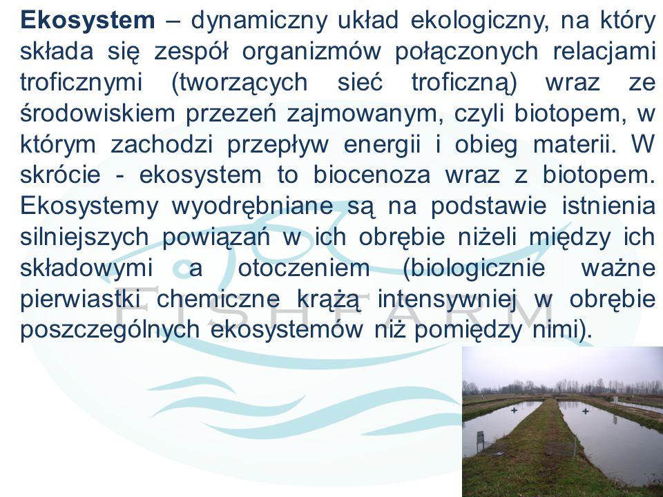 Ekosystem – dynamiczny układ ekologiczny, na który składa się zespół organizmów połączonych relacjami troficznymi (tworzących sieć troficzną) wraz ze środowiskiem przezeń zajmowanym, czyli biotopem, w którym zachodzi przepływ energii i obieg materii.