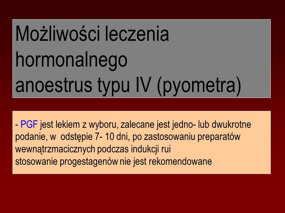 Możliwości leczenia hormonalnego anoestrus typu IV (pyometra)