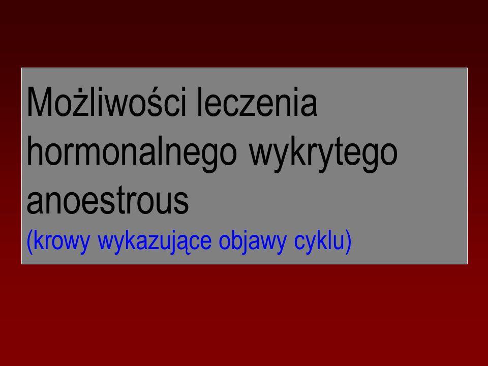 Możliwości leczenia hormonalnego wykrytego anoestrous (krowy wykazujące objawy cyklu)