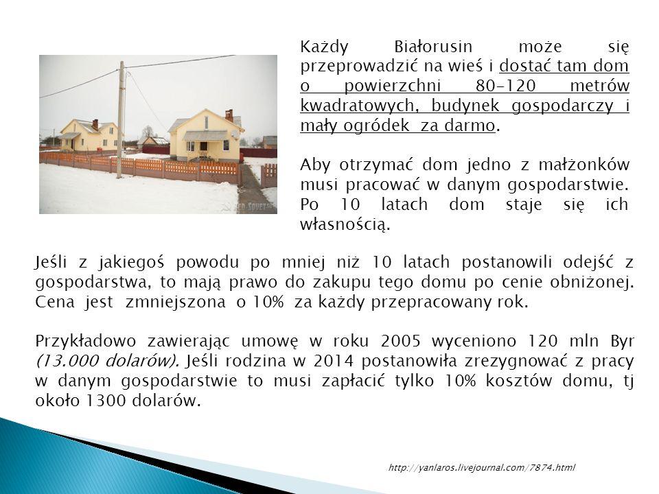 Każdy Białorusin może się przeprowadzić na wieś i dostać tam dom o powierzchni 80-120 metrów kwadratowych, budynek gospodarczy i mały ogródek za darmo.