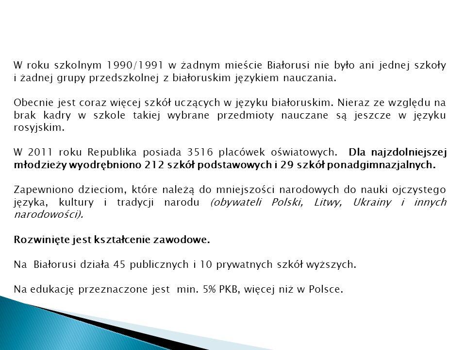 W roku szkolnym 1990/1991 w żadnym mieście Białorusi nie było ani jednej szkoły i żadnej grupy przedszkolnej z białoruskim językiem nauczania.
