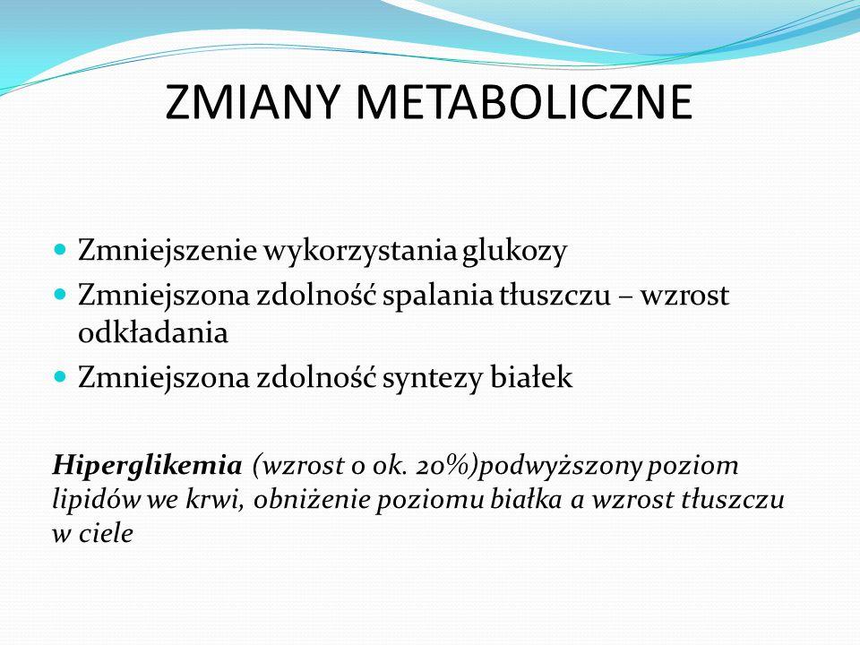 ZMIANY METABOLICZNE Zmniejszenie wykorzystania glukozy