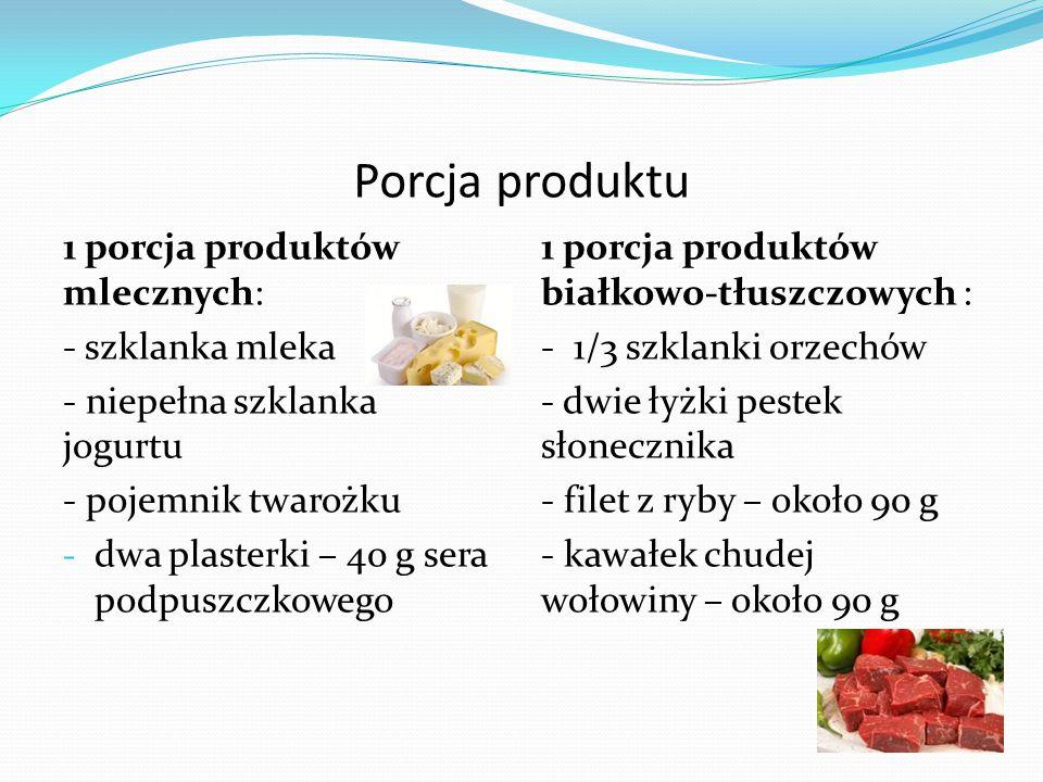 Porcja produktu 1 porcja produktów mlecznych: - szklanka mleka