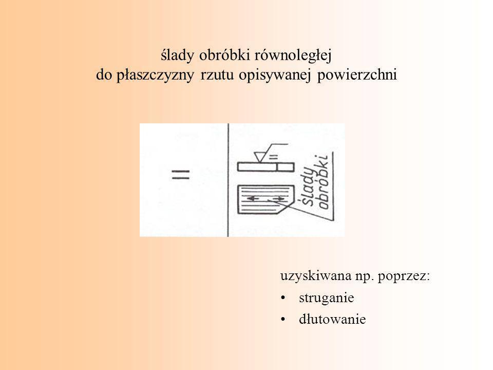 ślady obróbki równoległej do płaszczyzny rzutu opisywanej powierzchni