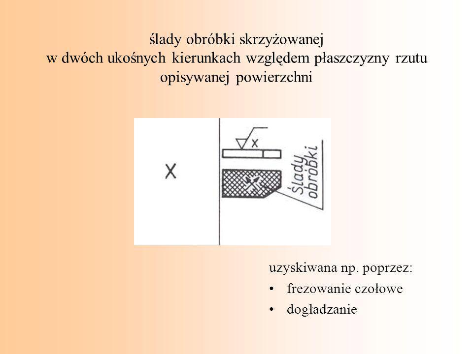 ślady obróbki skrzyżowanej w dwóch ukośnych kierunkach względem płaszczyzny rzutu opisywanej powierzchni