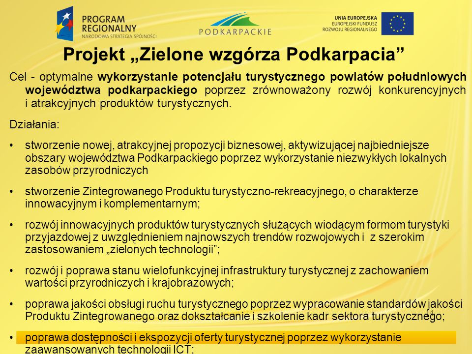 """Projekt """"Zielone wzgórza Podkarpacia"""