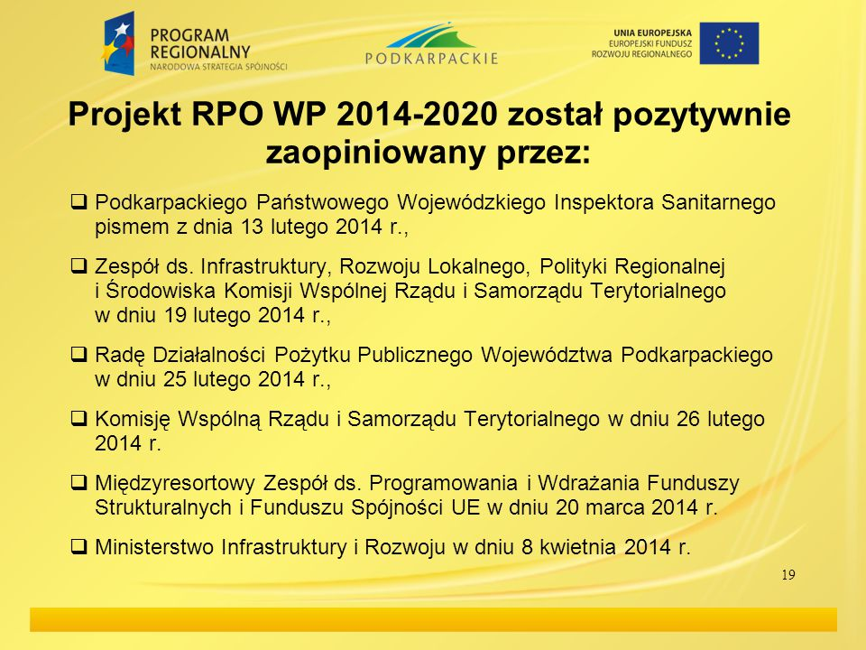 Projekt RPO WP 2014-2020 został pozytywnie zaopiniowany przez:
