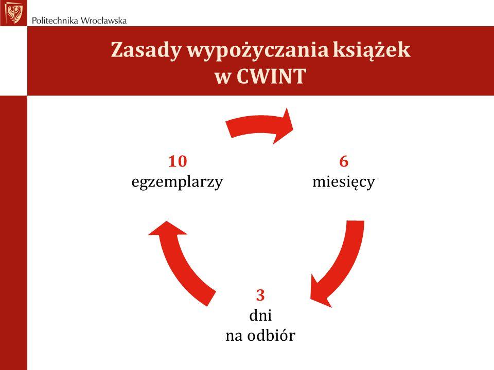 Zasady wypożyczania książek w CWINT