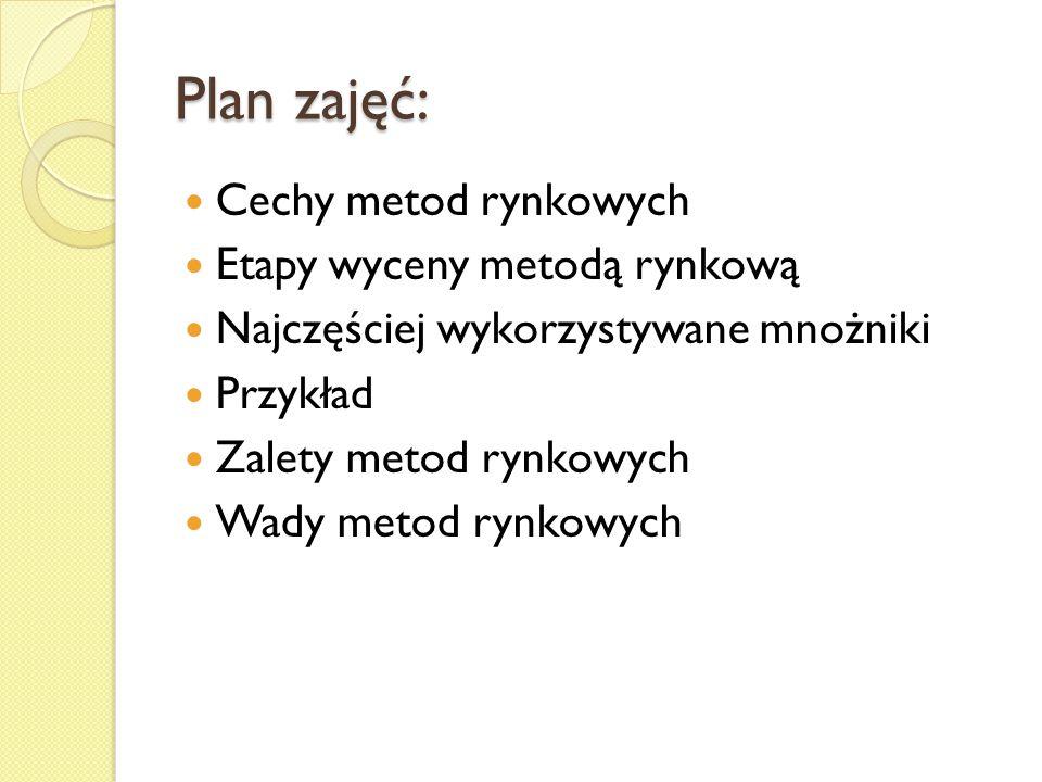 Plan zajęć: Cechy metod rynkowych Etapy wyceny metodą rynkową