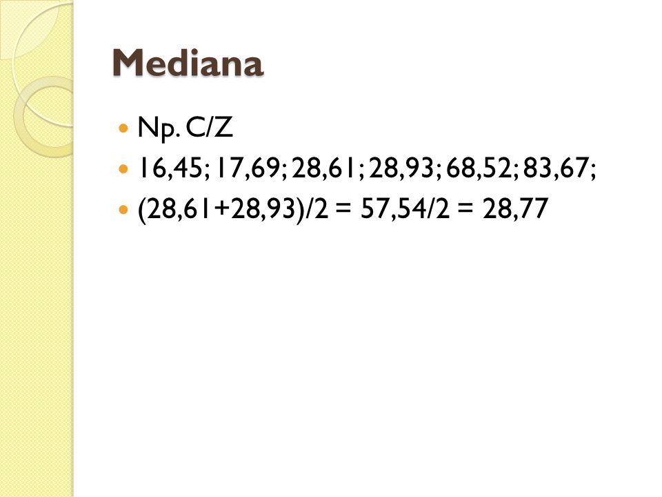 Mediana Np. C/Z 16,45; 17,69; 28,61; 28,93; 68,52; 83,67; (28,61+28,93)/2 = 57,54/2 = 28,77