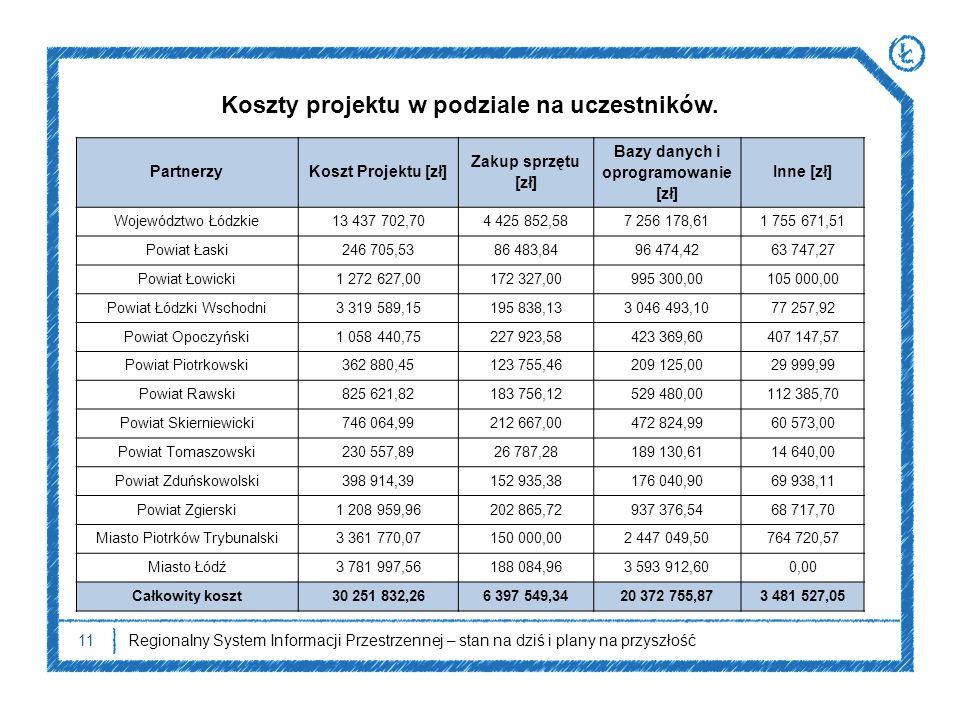 Koszty projektu w podziale na uczestników.