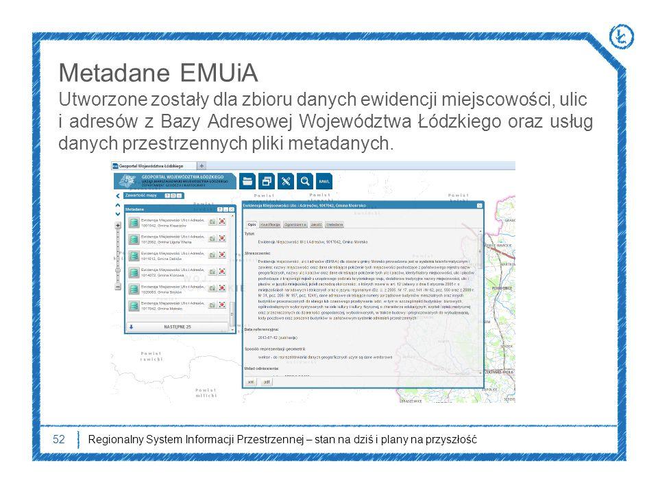 Metadane EMUiA Utworzone zostały dla zbioru danych ewidencji miejscowości, ulic.