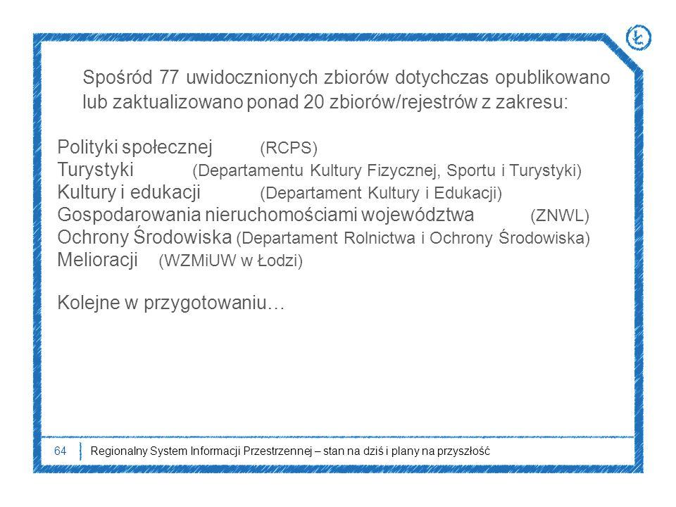 Spośród 77 uwidocznionych zbiorów dotychczas opublikowano lub zaktualizowano ponad 20 zbiorów/rejestrów z zakresu: