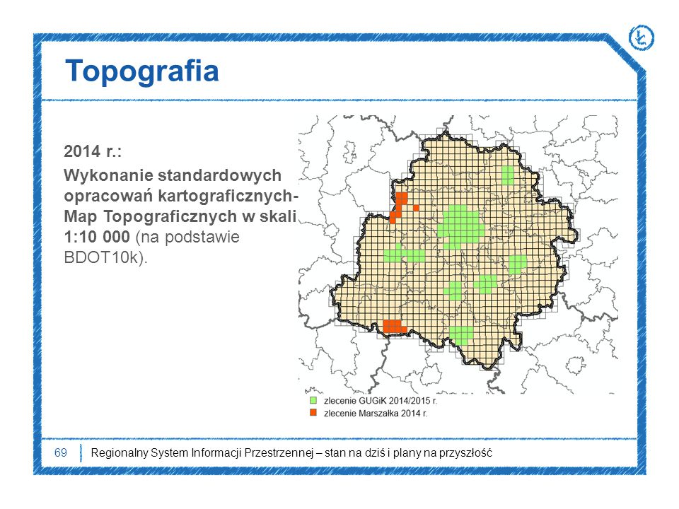 Topografia 2014 r.: Wykonanie standardowych opracowań kartograficznych- Map Topograficznych w skali 1:10 000 (na podstawie BDOT10k).