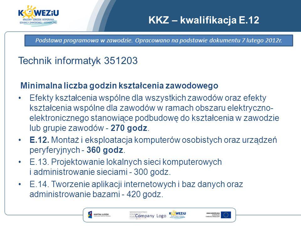 KKZ – kwalifikacja E.12 Technik informatyk 351203