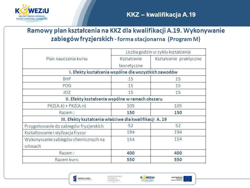 KKZ – kwalifikacja A.19 Ramowy plan kształcenia na KKZ dla kwalifikacji A.19. Wykonywanie zabiegów fryzjerskich - forma stacjonarna (Program M)