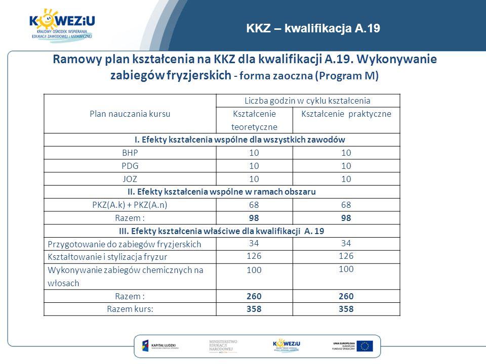 KKZ – kwalifikacja A.19 Ramowy plan kształcenia na KKZ dla kwalifikacji A.19. Wykonywanie zabiegów fryzjerskich - forma zaoczna (Program M)