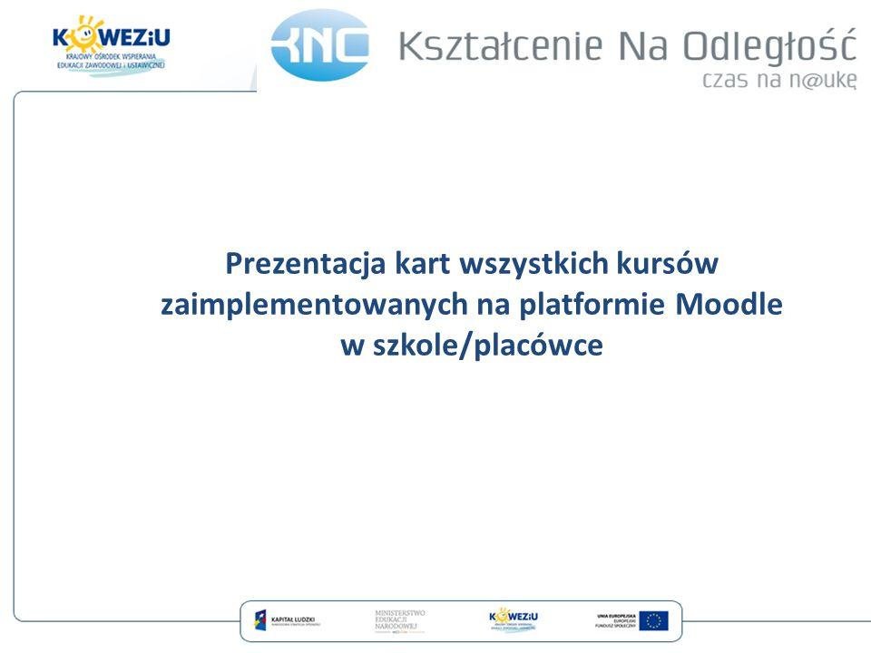 Prezentacja kart wszystkich kursów zaimplementowanych na platformie Moodle w szkole/placówce