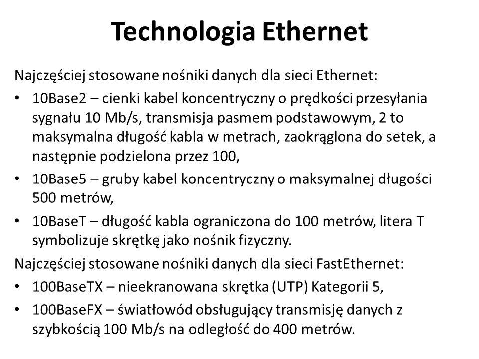 Technologia Ethernet Najczęściej stosowane nośniki danych dla sieci Ethernet: