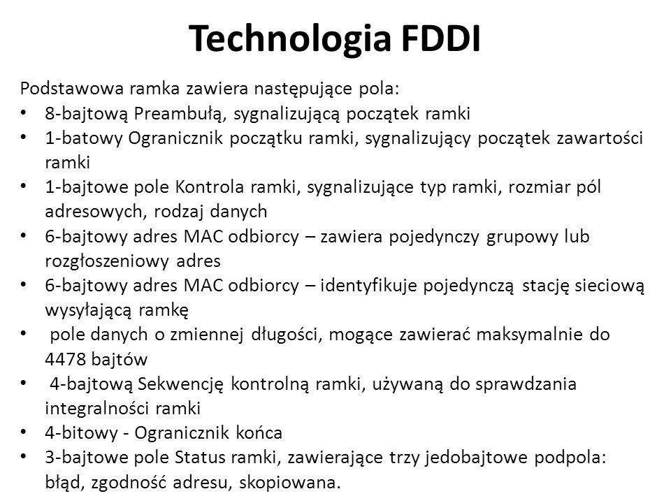 Technologia FDDI Podstawowa ramka zawiera następujące pola: