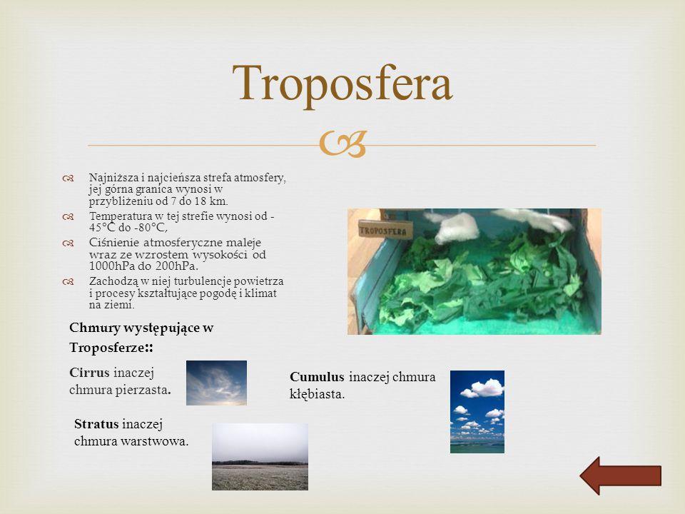 Troposfera Cirrus inaczej chmura pierzasta.