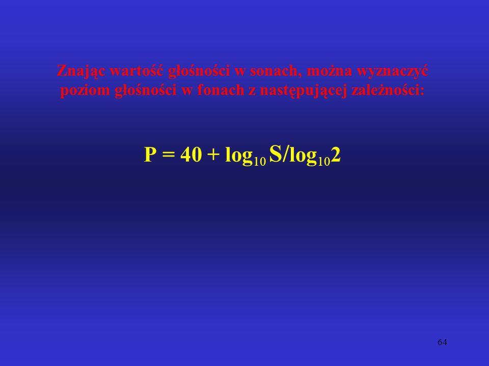 Znając wartość głośności w sonach, można wyznaczyć poziom głośności w fonach z następującej zależności: P = 40 + log10 S/log102