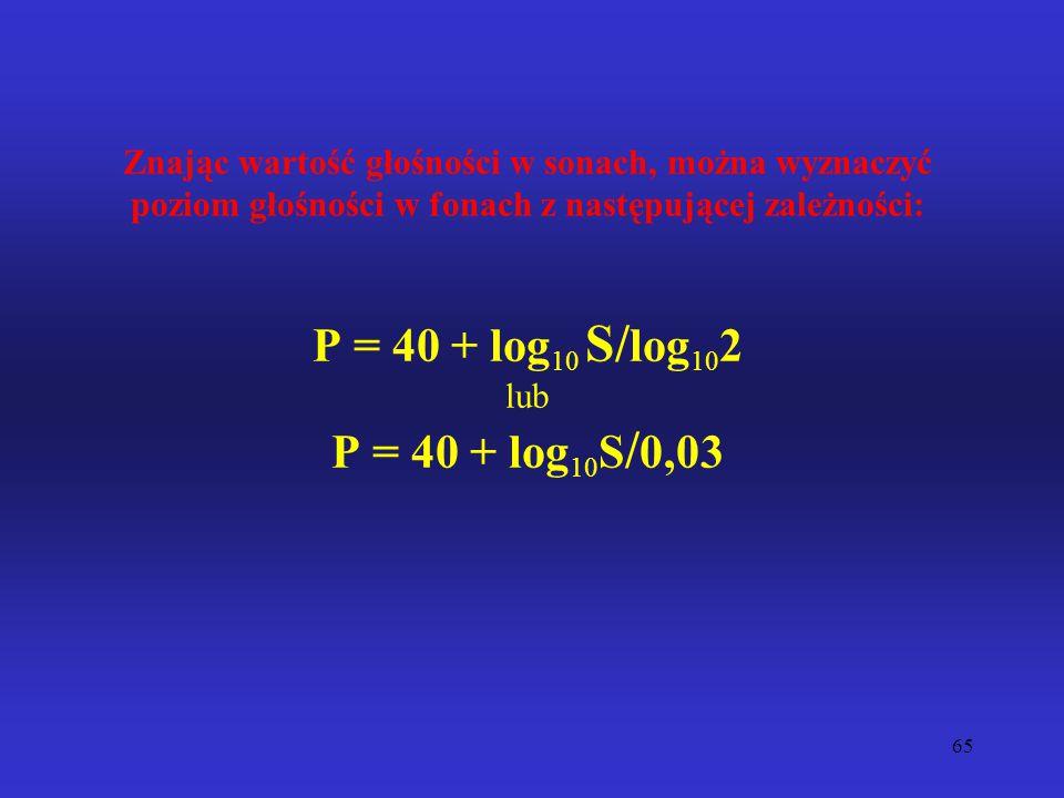 Znając wartość głośności w sonach, można wyznaczyć poziom głośności w fonach z następującej zależności: P = 40 + log10 S/log102 lub P = 40 + log10S/0,03