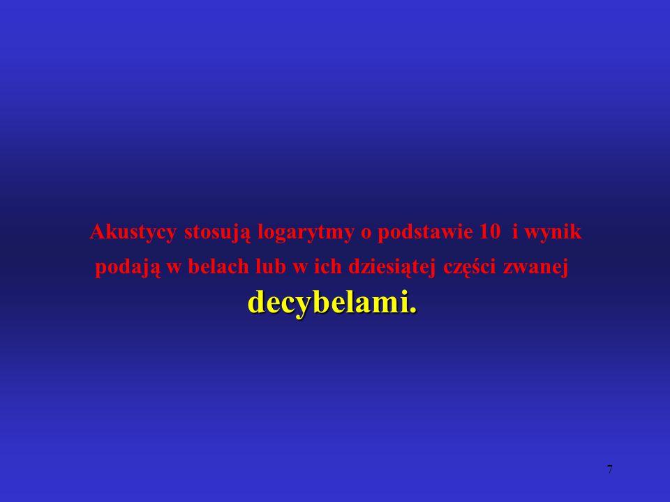 Akustycy stosują logarytmy o podstawie 10 i wynik podają w belach lub w ich dziesiątej części zwanej decybelami.