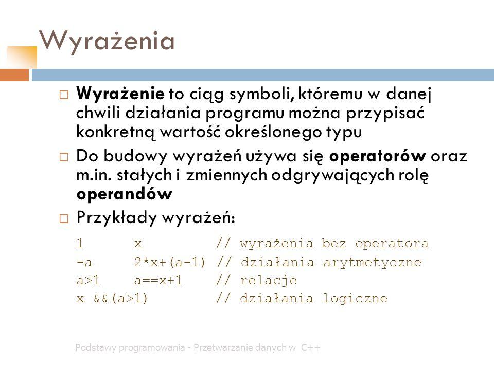 Wyrażenia Wyrażenie to ciąg symboli, któremu w danej chwili działania programu można przypisać konkretną wartość określonego typu.