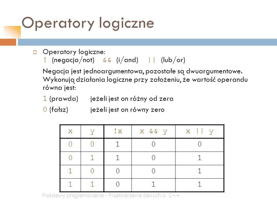 Operatory logiczne Operatory logiczne: ! (negacja/not) && (i/and) || (lub/or)