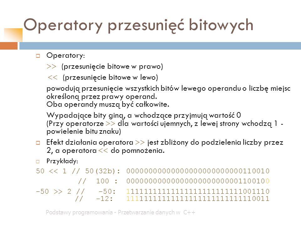 Operatory przesunięć bitowych