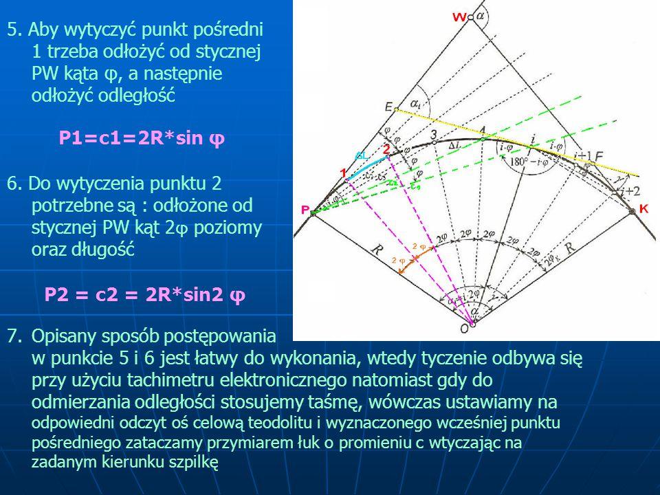 P1=c1=2R*sin φ P2 = c2 = 2R*sin2 φ