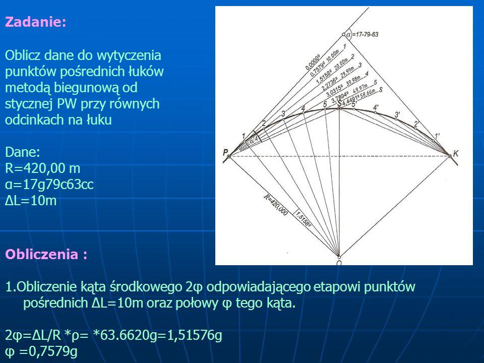 Zadanie: Oblicz dane do wytyczenia punktów pośrednich łuków metodą biegunową od stycznej PW przy równych odcinkach na łuku.