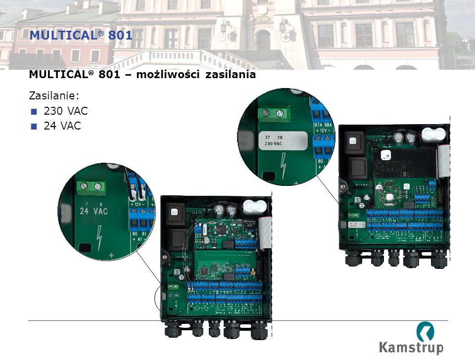 MULTICAL 801 MULTICAL 801 – możliwości zasilania Zasilanie: 230 VAC