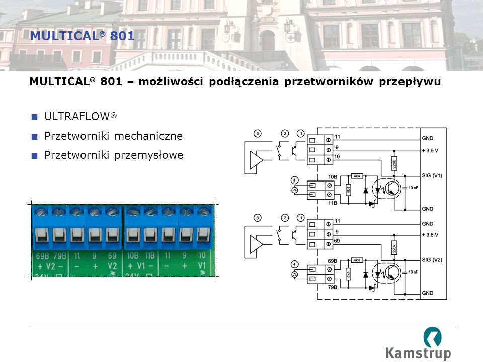 MULTICAL 801 MULTICAL 801 – możliwości podłączenia przetworników przepływu. ULTRAFLOW® Przetworniki mechaniczne.