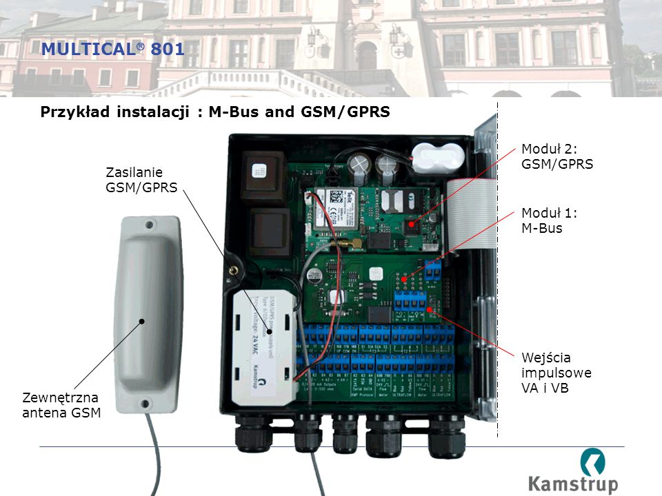MULTICAL 801 Przykład instalacji : M-Bus and GSM/GPRS