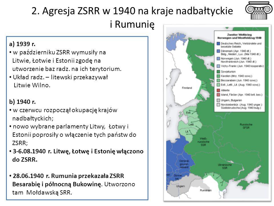 2. Agresja ZSRR w 1940 na kraje nadbałtyckie i Rumunię