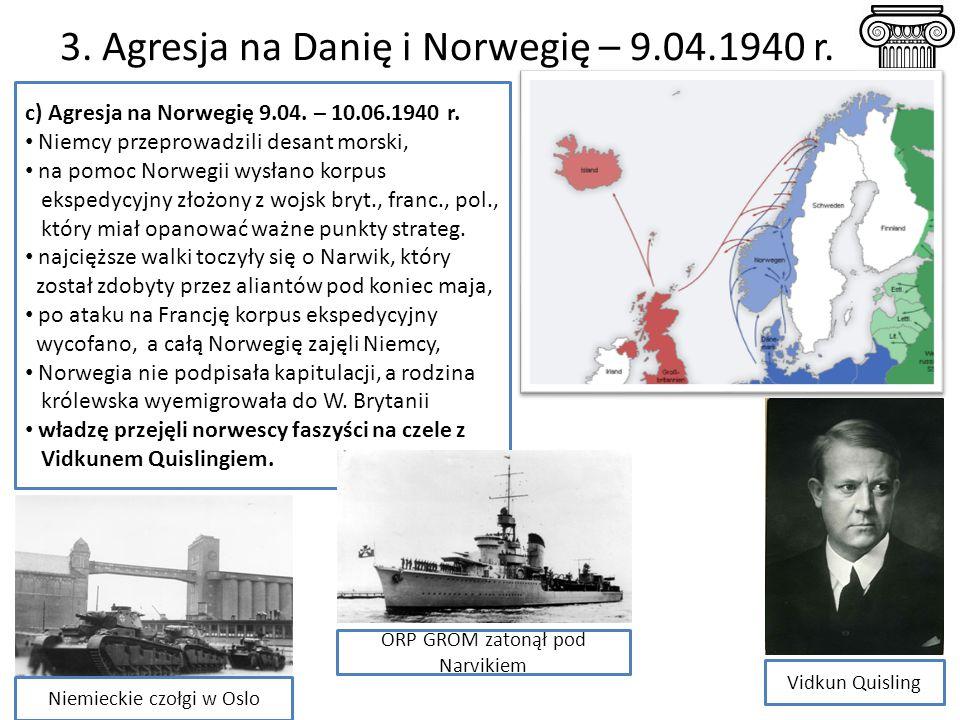 3. Agresja na Danię i Norwegię – 9.04.1940 r.