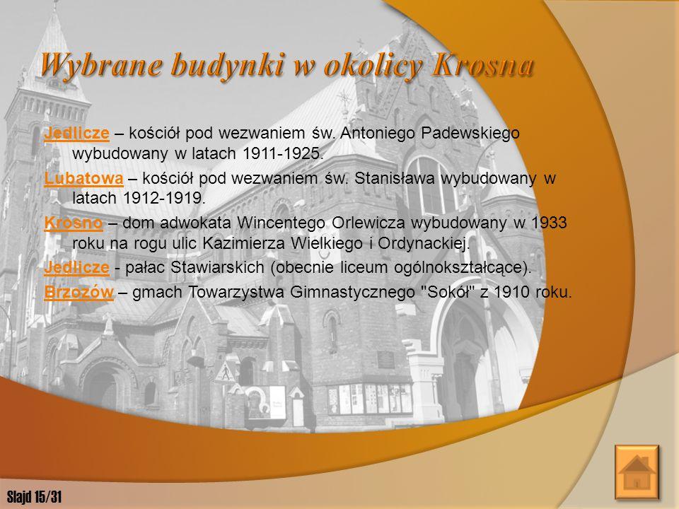 Wybrane budynki w okolicy Krosna