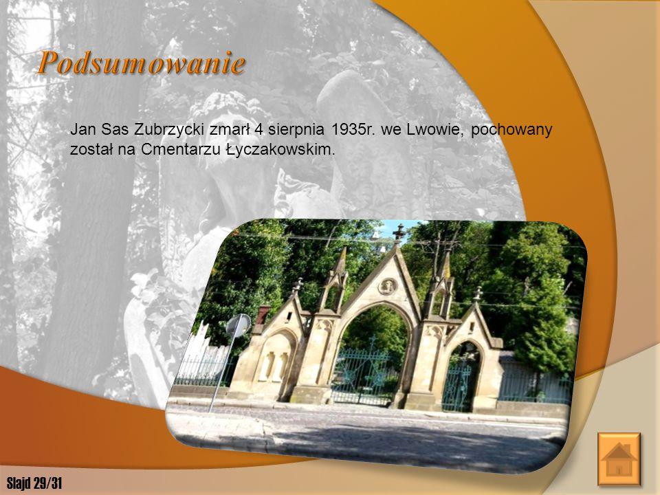 Podsumowanie Jan Sas Zubrzycki zmarł 4 sierpnia 1935r. we Lwowie, pochowany został na Cmentarzu Łyczakowskim.