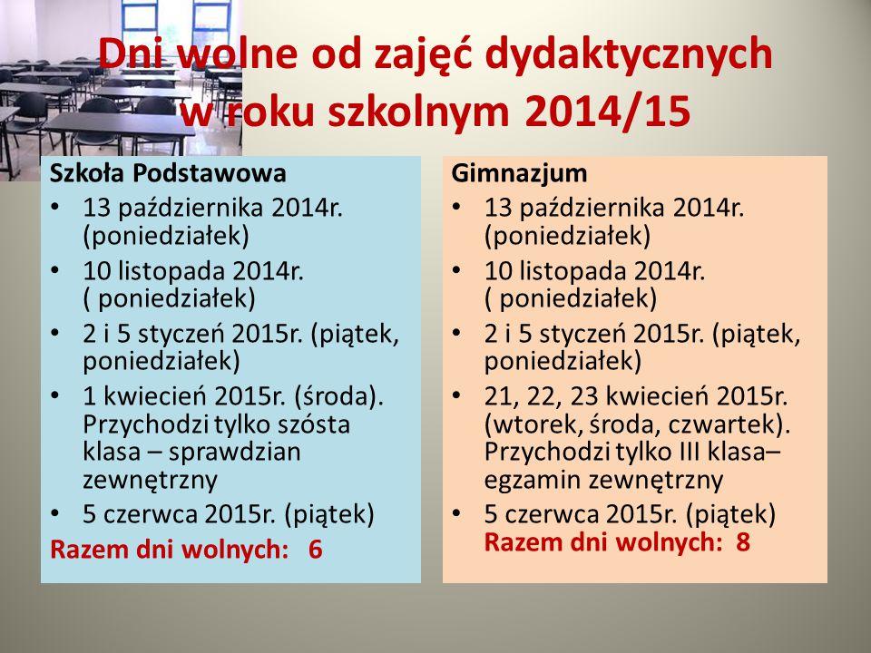 Dni wolne od zajęć dydaktycznych w roku szkolnym 2014/15