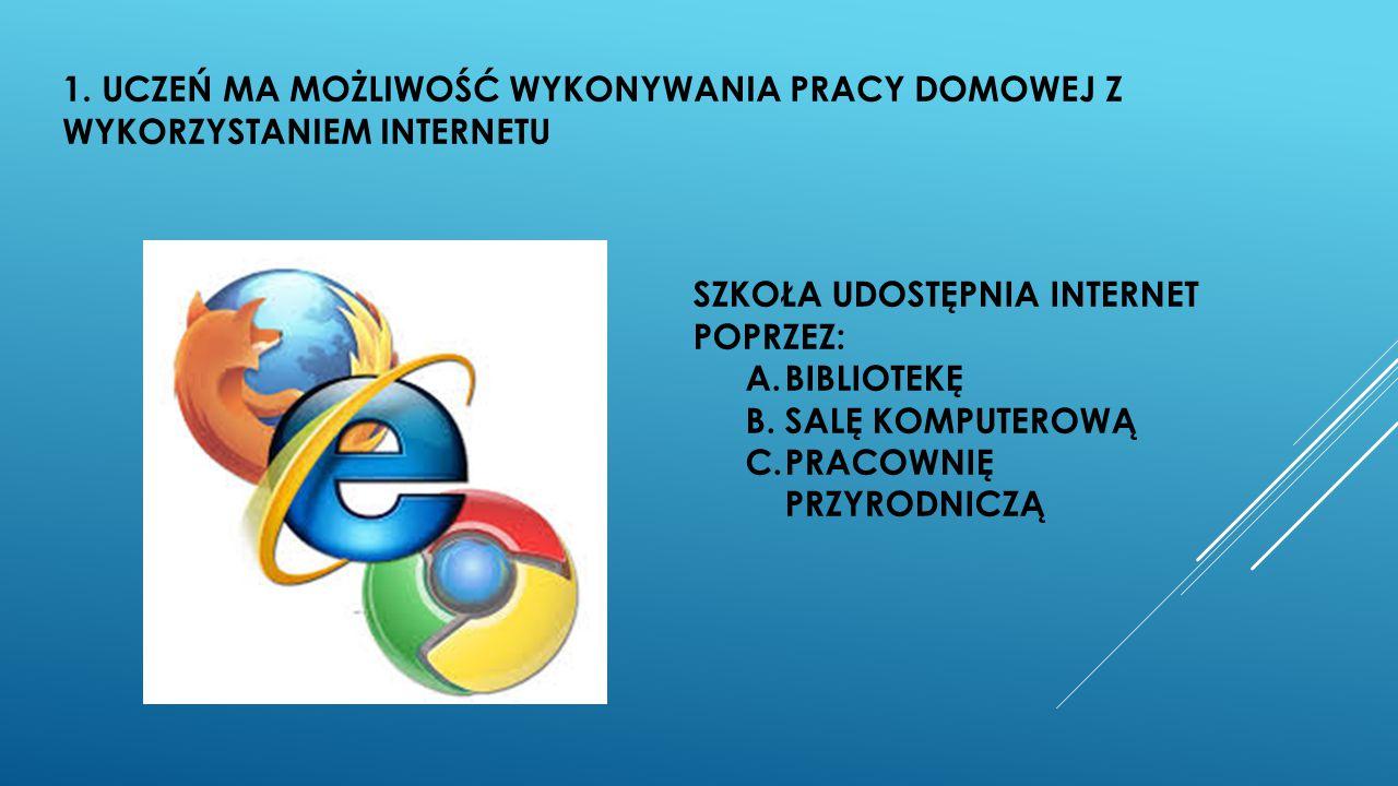1. UCZEŃ MA MOŻLIWOŚĆ WYKONYWANIA PRACY DOMOWEJ Z WYKORZYSTANIEM INTERNETU
