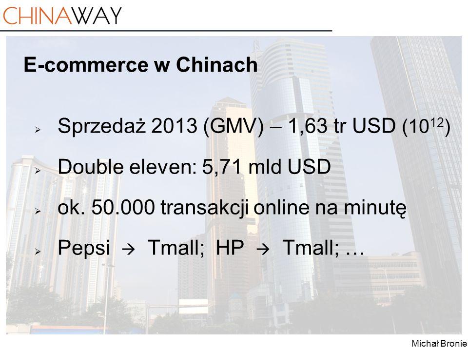 E-commerce w Chinach Sprzedaż 2013 (GMV) – 1,63 tr USD (1012) Double eleven: 5,71 mld USD. ok. 50.000 transakcji online na minutę.